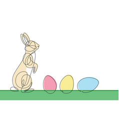 easter bunny continuous line vector image vector image