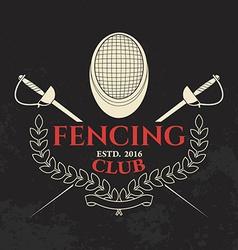 Fencing club label template vector