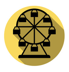 Ferris wheel sign flat black icon with vector