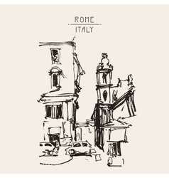 Freehand sketch sepia drawing of rome italy vector