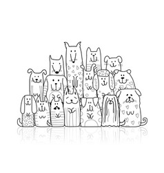 Funny dogs family sketch for your design vector
