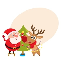 Funny santa claus and reindeer decorating vector