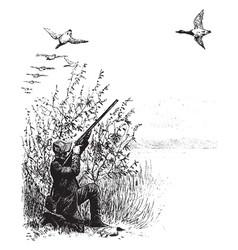 Geese hunting vintage vector