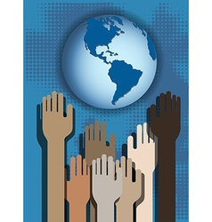 Hands and globe vector image vector image