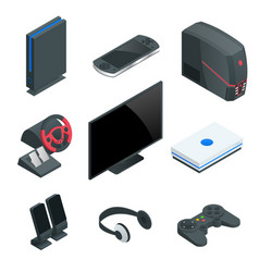 isometric video game console icon set simple set vector image vector image