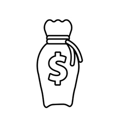 Money bag business finance line vector