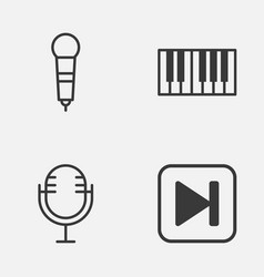 music icons set collection of skip song mike vector image vector image