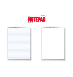 realistic blank notepad textbook icon notepad vector image vector image