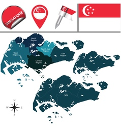 Singapore map with named divisions vector image vector image