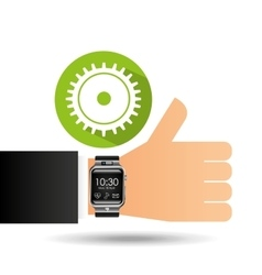 Smart watch on hand- progress gear vector