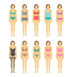 Woman figures in fashionable lingerie flat icons vector