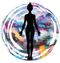 Women silhouette yoga mountain pose tadasana vector