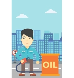Man with oil barrel and gas pump nozzle vector image