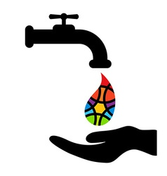 Faucet hand and rainbow colored drop on white vector