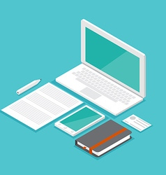 mockup isometric set laptop vector image