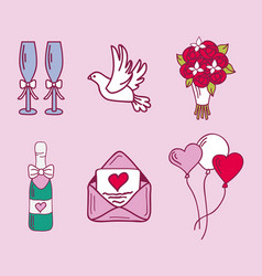 Wedding couple relationship marriage nuptial icons vector