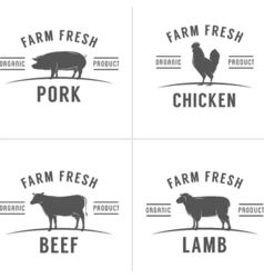 Set of vintage butchery meat stamps and labels vector image