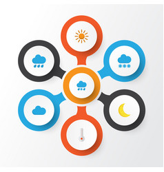 weather flat icons set collection of drizzles vector image