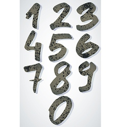 Grunge textured numbers painted with brush vector