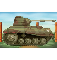An armoured tank at the battlefield vector