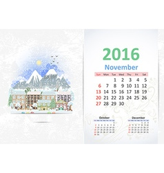 Cute sweet cityscape calendar for 2016 november vector