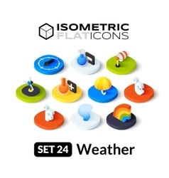 Isometric flat icons set 24 vector