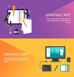 Graphic art concept set of flat style for web vector