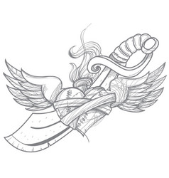 a sketch of a tattoo heart with wings and a sword vector image