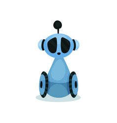 blue cute friendly robot on wheels artificial vector image