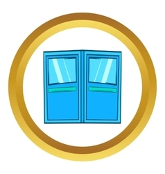 Blue double entrance doors icon vector
