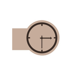 brown emblem sticker clock icon vector image vector image