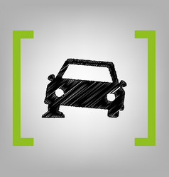 Car parking sign black scribble icon in vector