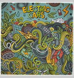 Cartoon doodles electric cars frame design vector