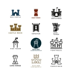 Castle fortress logo set vector