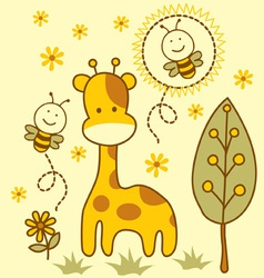 Cute giraffe and bees vector