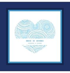 Doodle circle water texture heart symbol frame vector