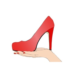 Female hand with shoe vector