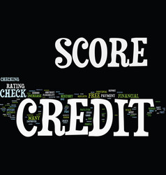 free credit score check text background word vector image
