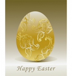 golden Easter egg with floral vector image