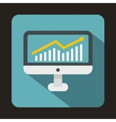 Graph on computer screen icon flat style vector image