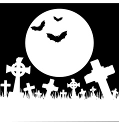 Halloween card with cemetery vector