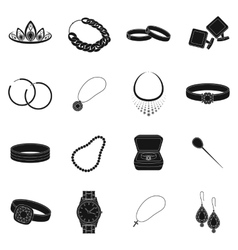 Jewelry and accessories set icons in black style vector image vector image