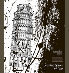 Leaning tower sketch hand drawn ink spots vector