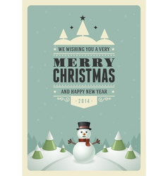 Merry christmas postcard with snowman background vector