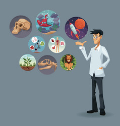realistic color poster scientist with icons world vector image vector image