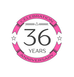Realistic thirty six years anniversary celebration vector