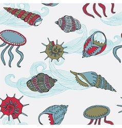 Sea fauna Seamless background vector image vector image