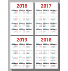 Set of calendars for 2016 2017 2018 2019 years on vector