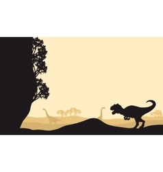 Silhouette of allosaurus with Brachiosaurus vector image