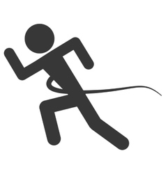 Silhouette of person running into finish line vector